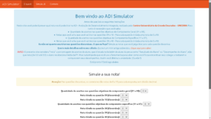 Captura de tela do site ADI Simulator